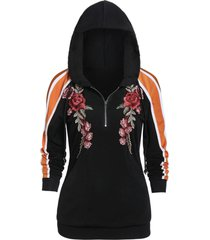 embroidered color block long sleeve hoodie