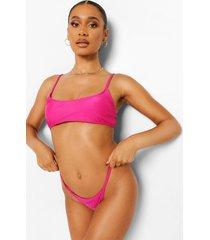essentials spaghetti strap bikini crop top, bright pink