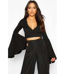extreme flute sleeve wrap cropped top, black
