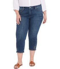 plus size women's nydj chloe zip hem stretch capri jeans, size 24w - blue
