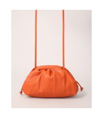 bolsa clutch franzida com alça transversal laranja