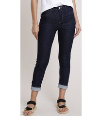 calça de sarja feminina sawary skinny pull up cintura alta com barra dobrada azul escuro