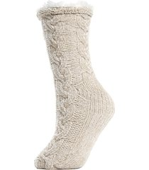 faux fur-lined cable chenille slipper socks