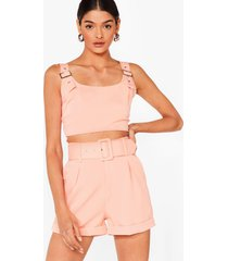 womens bad buckle babe crop top and shorts set - coral