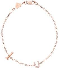 alison lou 14kt rose gold screw u bracelet - metallic