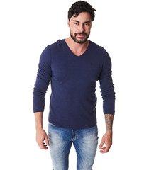 suéter convicto dupla face azul