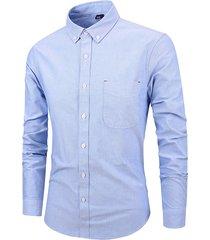 il colore solido del cotone del collare di giro allentato casuale di affari degli uomini sottile camicia