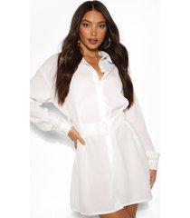 lang geweven blousejurk met riem en knopen, wit