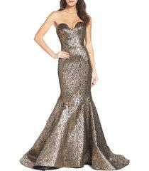 women's mac duggal lame mermaid gown, size 6 - metallic