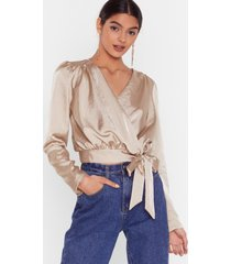 womens tie satin cropped blouse with padded shoulders - champagne