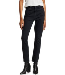 mother women's the dazzler uneven waist mid-rise crop straight-leg jeans - whos sorry now - size 26 (2-4)