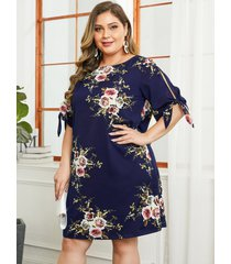 vestido de manga corta con estampado floral al azar de talla grande de yoins