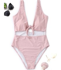 knot cutout high cut swimsuit