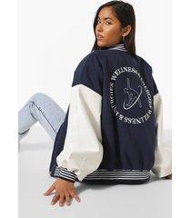 oversized geborduurde varsity jas met rugopdruk, navy