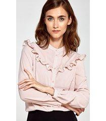 bluzka z falbankami w różowe kropki