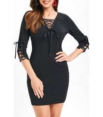 lace up tunic bodycon dress