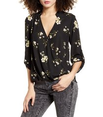 women's all in favor print wrap front gathered hem top, size xx-large - black