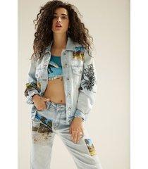 cropped denim trucker jacket south beach - blue - xl