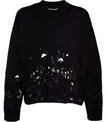 distressed flames sweater