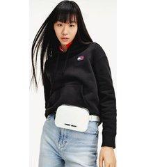 tommy hilfiger women's organic cotton badge hoodie black - xs