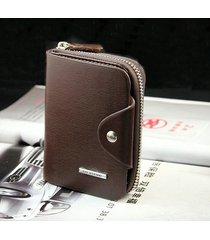 portafoglio trifold per porta carte di credito multi-slot casual per uomo