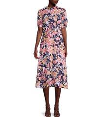 julia jordan women's floral puff-sleeve dress - navy pink multicolor - size 14