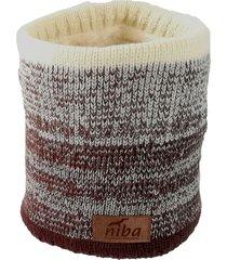 bufanda de lana circular café/beige niba