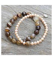 cultured pearl and agate stretch bracelet, 'iridescent forest' (thailand)