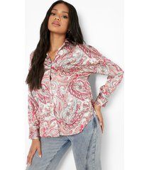 petite oversized paisley overhemd, pink