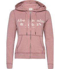 long life full zip hoodie trui roze abercrombie & fitch