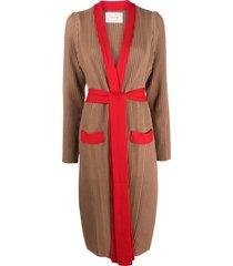 la doublej nonna mid-length cardigan - neutrals
