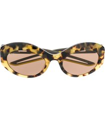 balenciaga eyewear hybrid oval-frame sunglasses - yellow