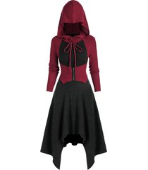 colorblock hooded handkerchief midi dress