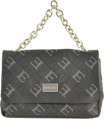 ermanno scervino black eco leather flap satchel bag