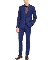 billy london men's slim-fit performance stretch blue/burgundy plaid suit