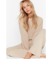womens high-waisted sweater and ribbed pants lounge set - stone