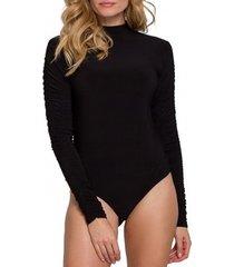 body's makover k072 bodysuit met aangeplooide mouwen - zwart