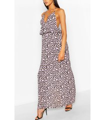 leopard frill waist maxi dress, lilac