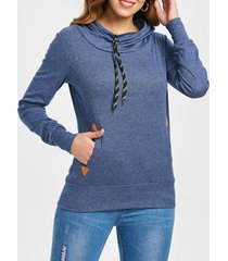 embroidered drawstring pocket design hoodie