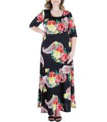 plus size bold floral print cold shoulder maxi dress