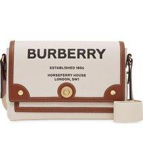 burberry horseferry print canvas note crossbody bag - natural/tan