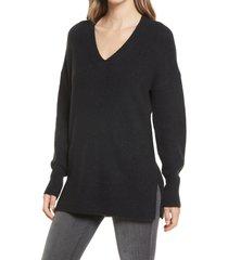 women's halogen cozy v-neck tunic sweater, size small - black