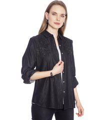 blusa manga larga liso negro curvi