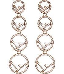 fendi f is fendi pendant earring - f089u-soft gold +crystal