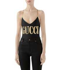 women's gucci metallic logo one-piece swimsuit