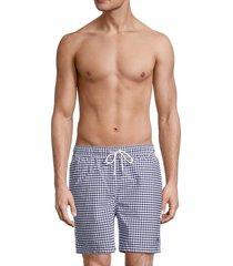 brooks brothers men's gingham swim shorts - navy - size s