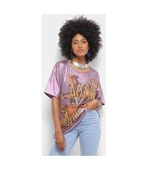camiseta farm manga curta estampada feminina