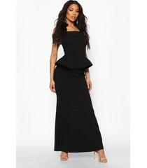 bardot peplum maxi dress, black