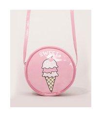 bolsa infantil redonda sorvete rosa