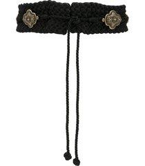 etro orante-plaque braided waist belt - black